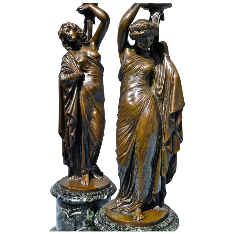 Pair of French 19th Century Figurative Patinated Bronze Candelabra Lamps For Sale