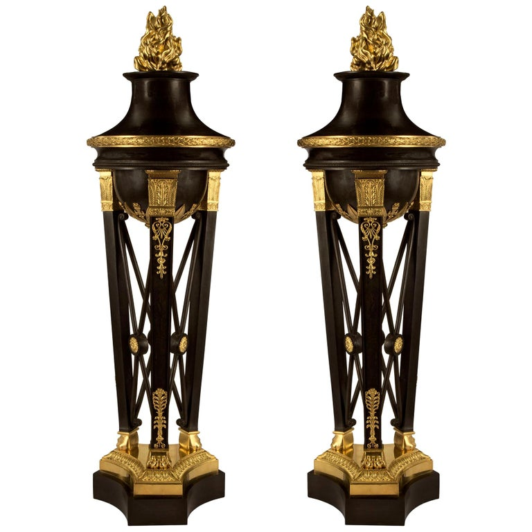 Pair of French 19th Century First Empire Period Bronze and Ormolu Brûle Parfums For Sale