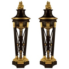 Pair of French 19th Century First Empire Period Bronze and Ormolu Brûle Parfums