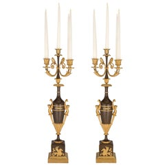 Pair of French 19th Century First Empire Period Bronze and Ormolu Candelabras
