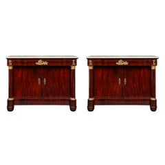 Pair of French 19th Century First Empire Period Crouch Mahogany & Ormolu Buffets