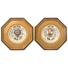 Pair of French 19th Century Framed Porcelain Plates of Hot Air Balloons