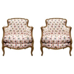 Pair of French 19th Century French Louis XV St. Patinated Bergère