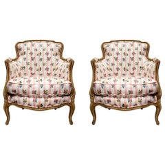Pair of French 19th Century French Louis XV Style Patinated Bergère