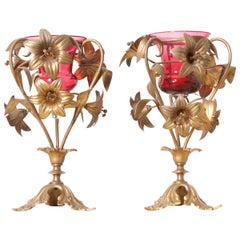 Pair of French 19th Century Gilt-Brass Lily Vases