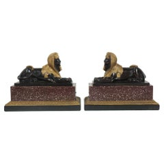 Pair of French 19th Century Gilt & Patinated Bronze Sphinxes on Porphyry & Bron