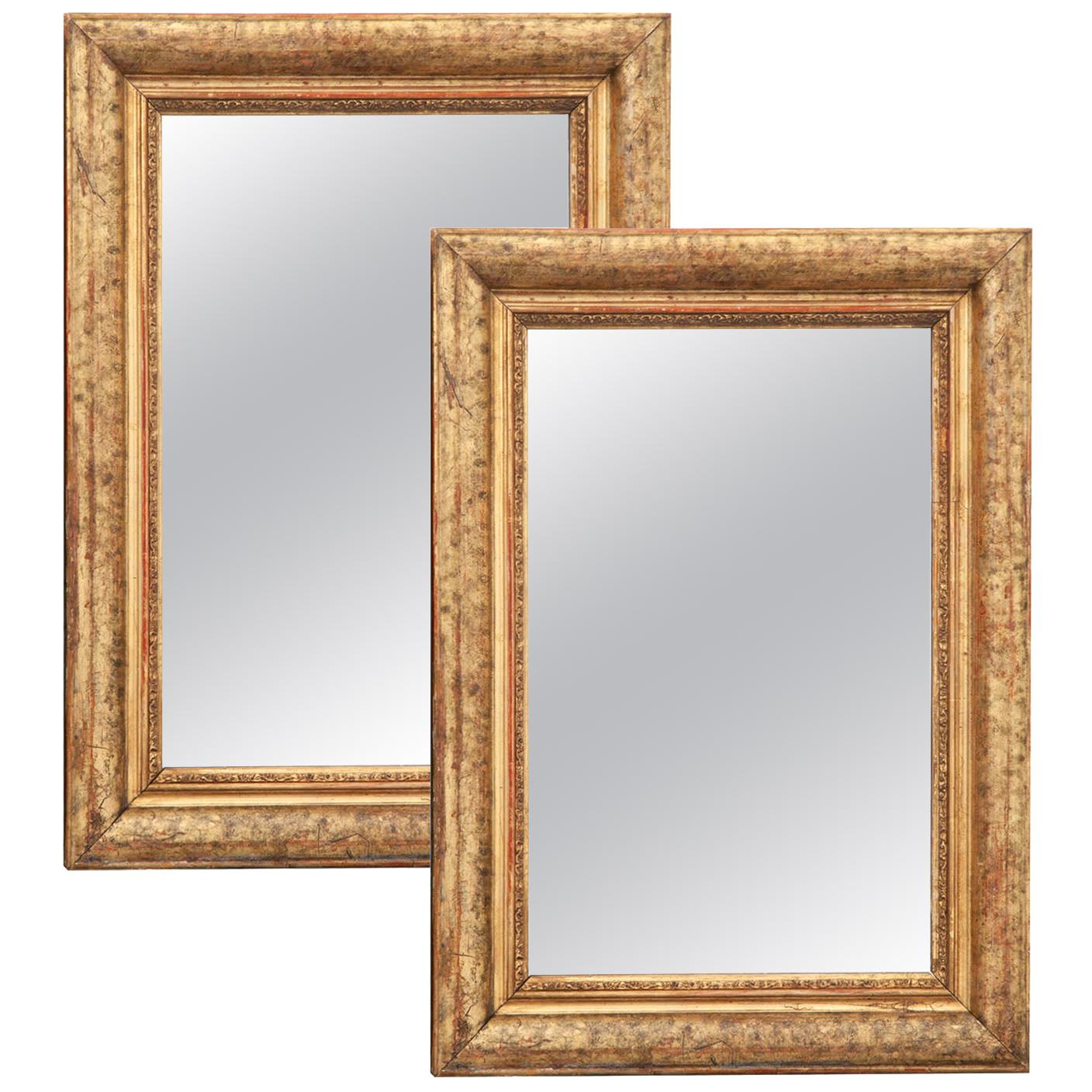 Pair of French 19th Century Giltwood Mirrors