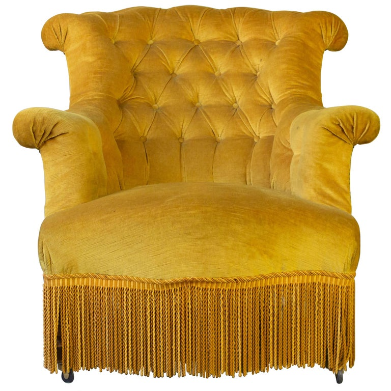 French tufted armchair, 19th century, offered by 145 Antiques