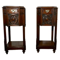 Pair of French 19th Century Gothic Oak Bedside Cupboards