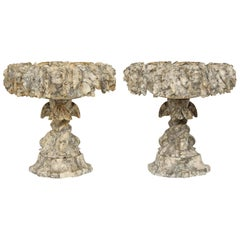 Pair of French 19th Century Grey and White Marble Urns