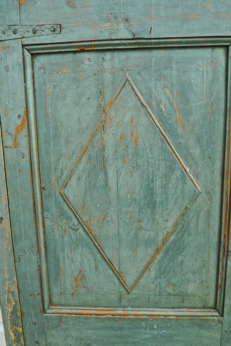 Pair of French 19th century hand carved and hand painted corner piece doors.