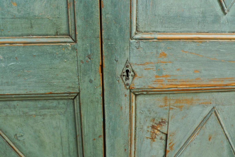 Hand-Carved Pair of French 19th Century Hand Carved and Hand Painted Corner Piece Doors For Sale