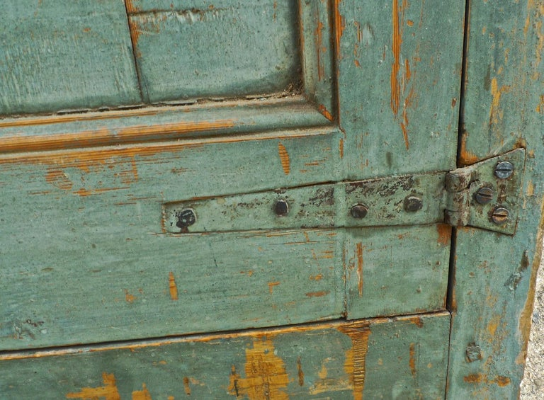 Pair of French 19th Century Hand Carved and Hand Painted Corner Piece Doors In Distressed Condition For Sale In Santa Monica, CA