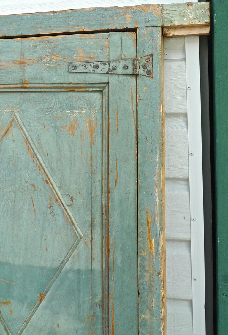 Pine Pair of French 19th Century Hand Carved and Hand Painted Corner Piece Doors For Sale