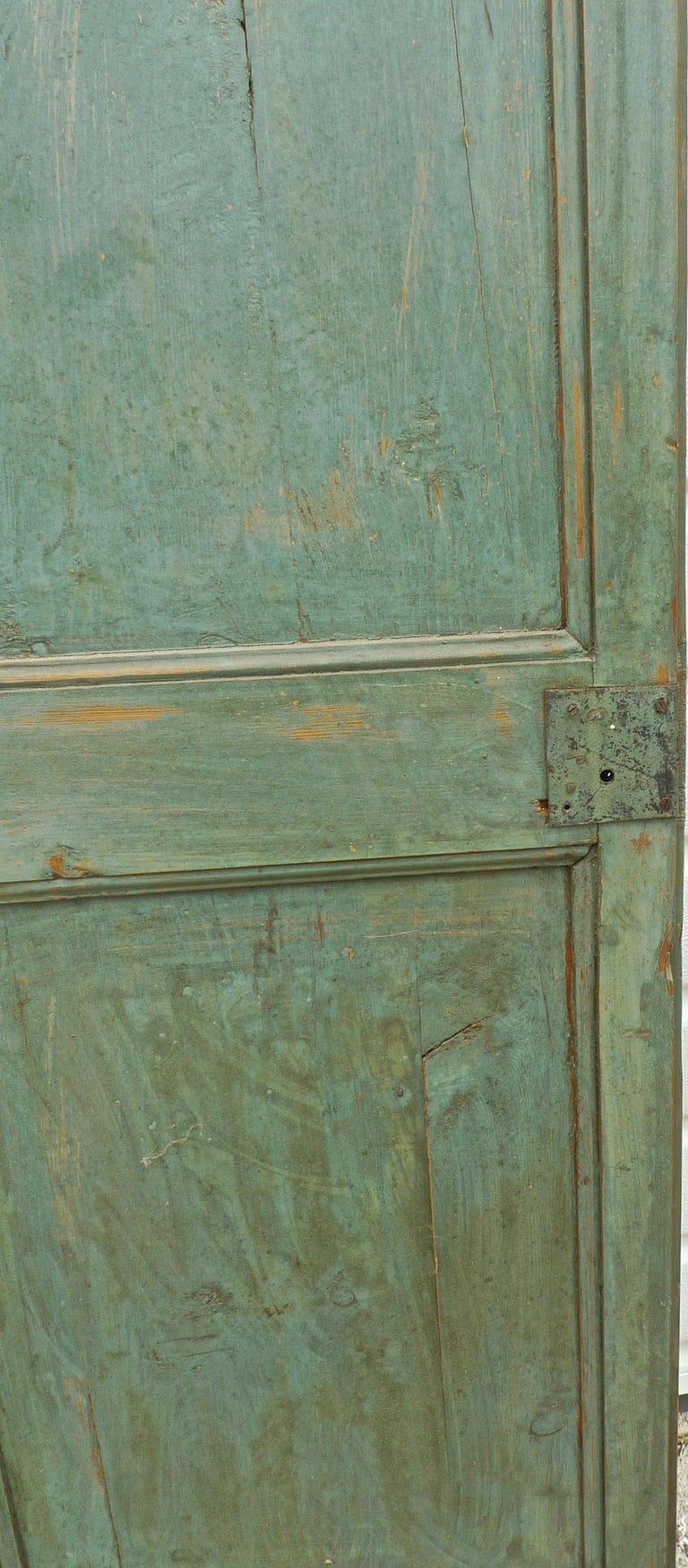 Pair of French 19th Century Hand Carved and Hand Painted Corner Piece Doors For Sale 1