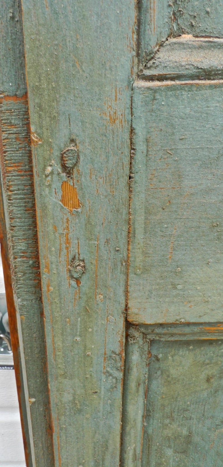 Pair of French 19th Century Hand Carved and Hand Painted Corner Piece Doors For Sale 2