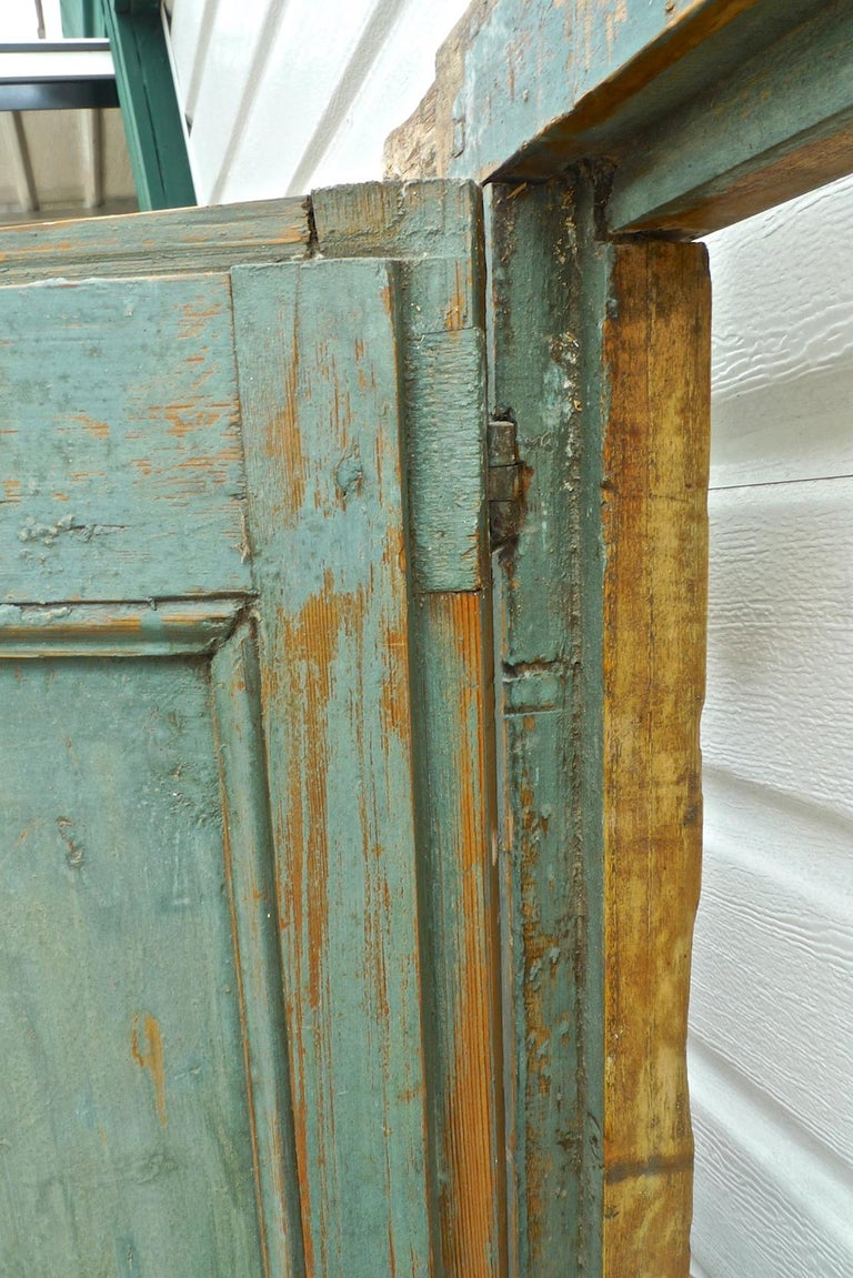 Pair of French 19th Century Hand Carved and Hand Painted Corner Piece Doors For Sale 3