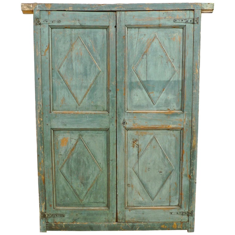 Pair of French 19th Century Hand-Carved and Hand-Painted Corner Piece Doors For Sale
