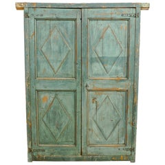 Pair of French 19th Century Hand Carved and Hand Painted Corner Piece Doors