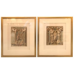 Pair of French 19th Century Hand Colored Copper Engraved Prints