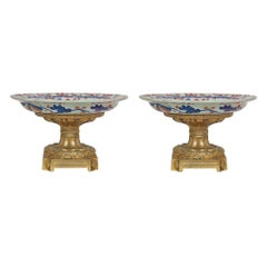 Pair of French 19th Century Imari and Ormolu Tazzas