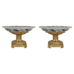 Pair of French 19th Century Imari and Ormolu Tazzas