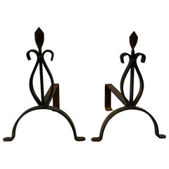 Pair of French 19th Century Iron Andirons or Fire Dogs