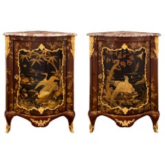 Pair of French 19th Century Japanese Lacquer and Marble Encoignure Cabinets