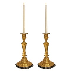 Pair of French 19th Century Louis XIV St. Black Belgian Marble and Ormolu Candle