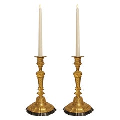 Pair of French 19th Century Louis XIV St. Marble and Ormolu Candlesticks