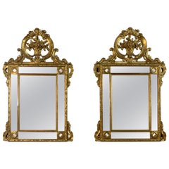 Pair of French 19th Century Louis XIV Style Giltwood Mirrors