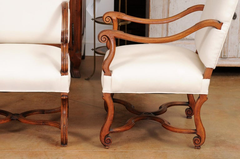 Pair of French 19th Century Louis XIV Style Walnut Fauteuils with New Upholstery For Sale 6
