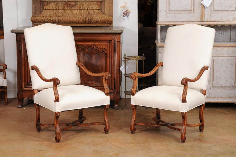 Pair of French 19th Century Louis XIV Style Walnut Fauteuils with New Upholstery For Sale 7