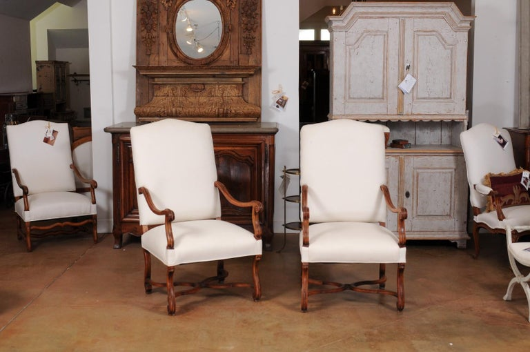 Carved Pair of French 19th Century Louis XIV Style Walnut Fauteuils with New Upholstery For Sale