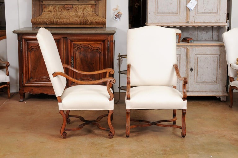 Pair of French 19th Century Louis XIV Style Walnut Fauteuils with New Upholstery For Sale 1
