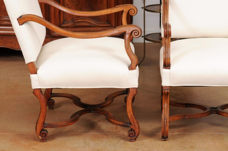 Pair of French 19th Century Louis XIV Style Walnut Fauteuils with New Upholstery For Sale 2