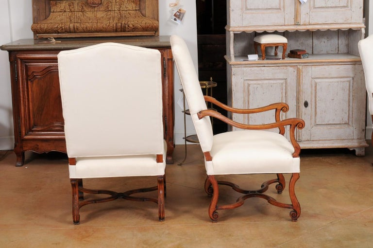 Pair of French 19th Century Louis XIV Style Walnut Fauteuils with New Upholstery For Sale 3