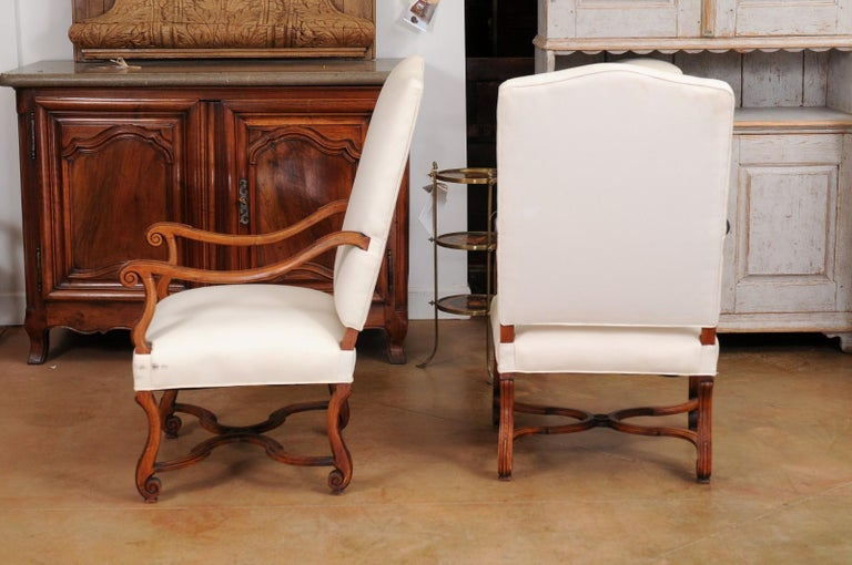 Pair of French 19th Century Louis XIV Style Walnut Fauteuils with New Upholstery For Sale 4
