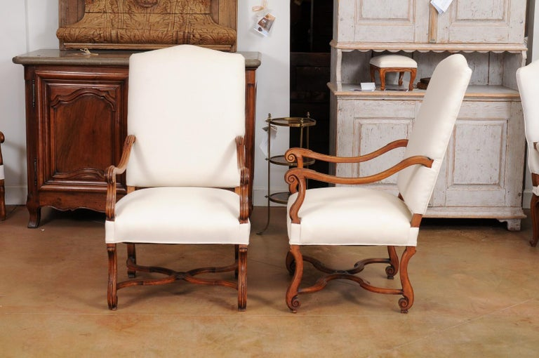 Pair of French 19th Century Louis XIV Style Walnut Fauteuils with New Upholstery For Sale 5