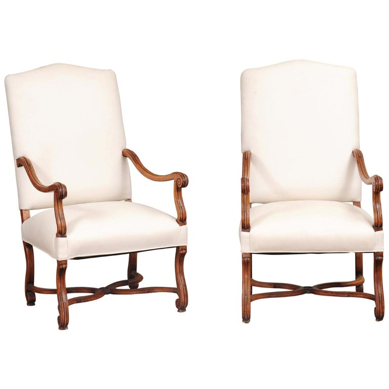 Pair of French 19th Century Louis XIV Style Walnut Fauteuils with New Upholstery For Sale