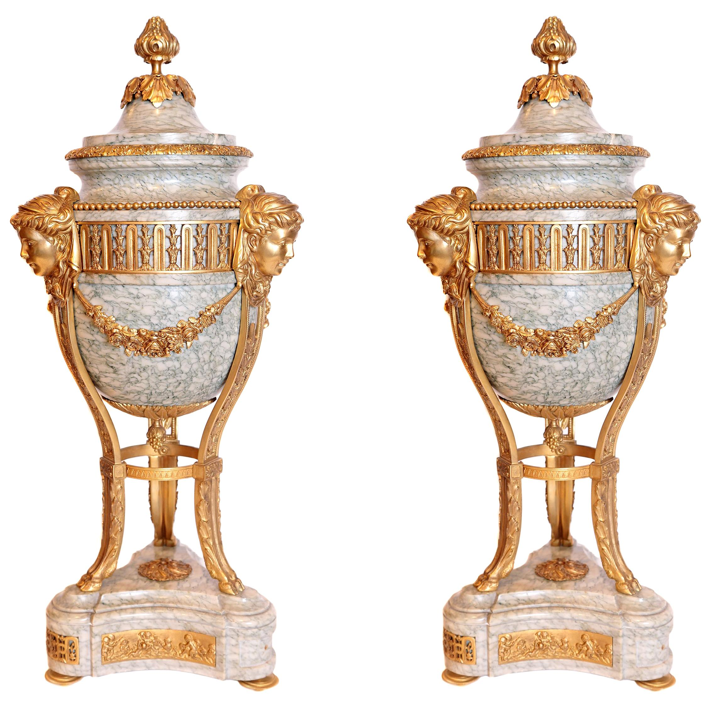 Pair of French 19th Century Louis XV Gilt Bronze and Marble Lidded Urns
