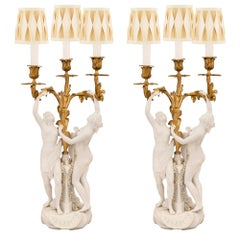 Pair of French 19th Century Louis XV Style Candelabras Lamps, Signed Sèvres
