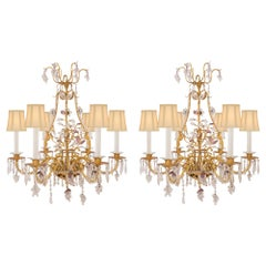 French 19th Century Louis XV Style Chandeliers Attributed to Maison Baguès, Pair