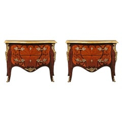 Pair of French 19th Century Louis XV St. Kingwood and Tulipwood Commodes