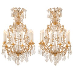 Pair of French 19th Century Louis XV St. Ormolu and Baccarat Crystal Chandeliers