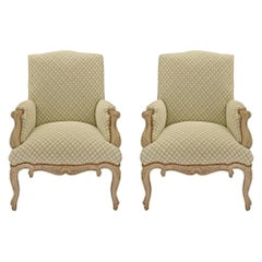 Pair of French 19th Century Louis XV St. Patinated Armchairs
