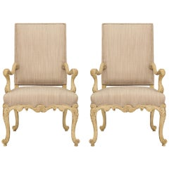 Pair of French 19th Century Louis XV St. Patinated Wood Armchairs