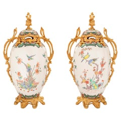 Pair of French 19th Century Louis XV St. Porcelain & Ormolu Mounted Lidded Urns