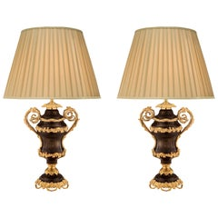 Pair of French 19th Century Louis XV Style Bronze and Ormolu Lamps