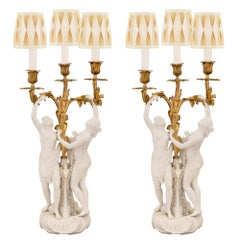 Pair of French 19th Century Louis XV Style Candelabra Lamps, Signed Sèvres